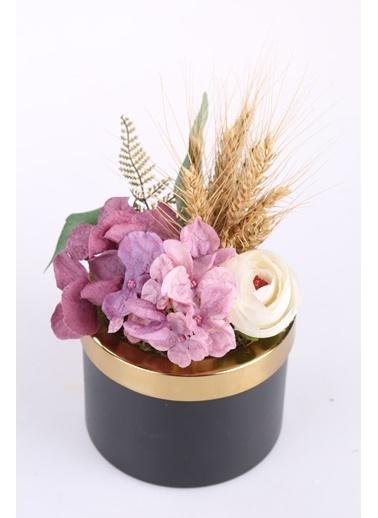 Kibrithane Çiçek Yapay Çiçek Metal Saksı Kuru Çiçek Gül Aranjman Kc00200776 Renkli